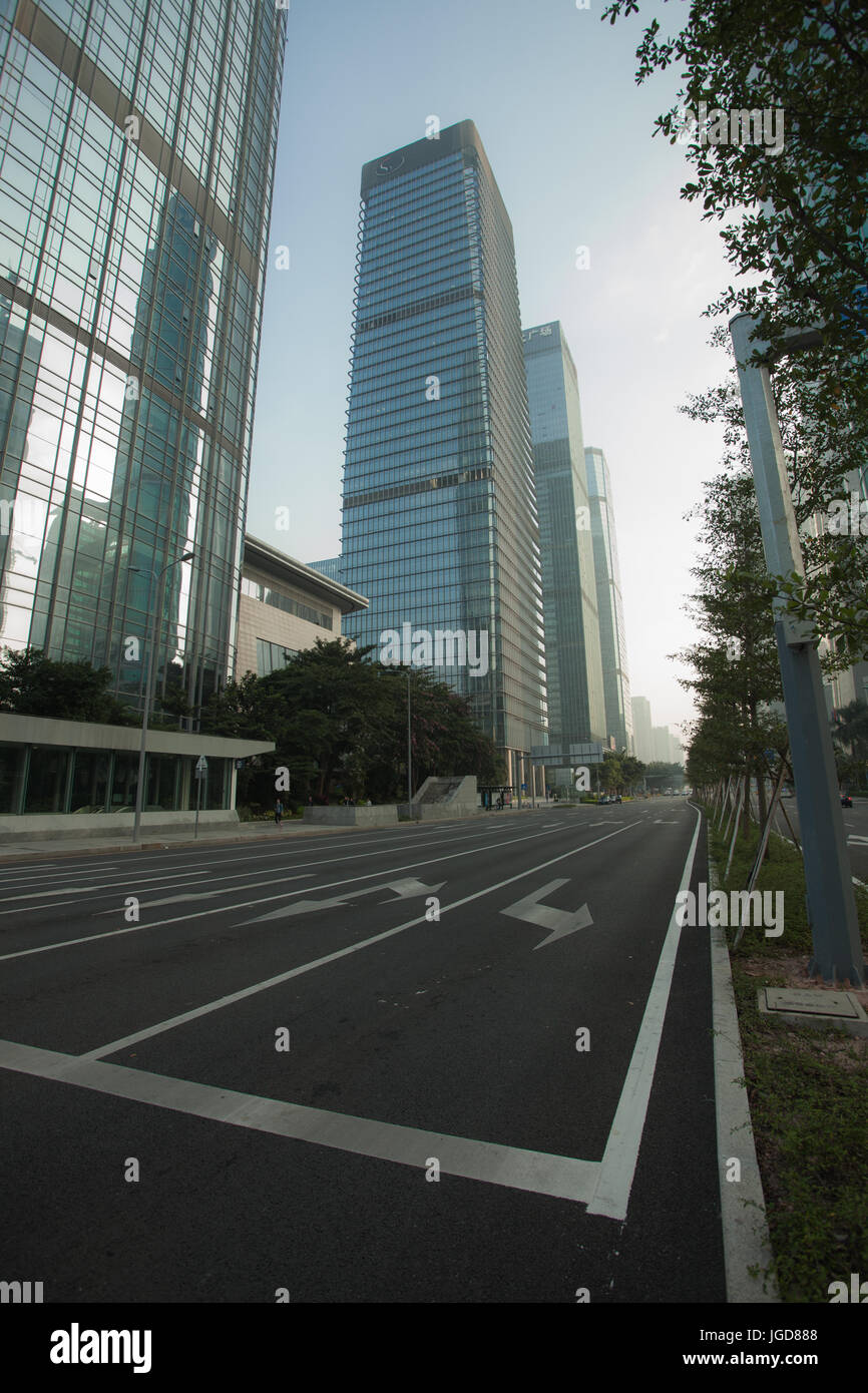 Skyscrapers in Futian district; Shenzhen; Guangdong province, city of China - Stock Image