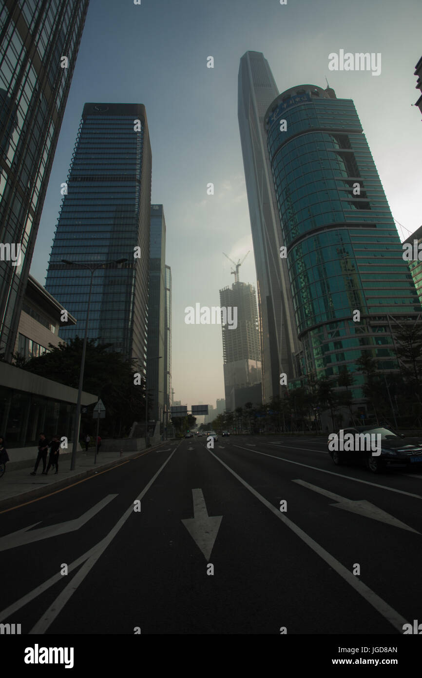 Corporate business buildings backlit; Futian district, Shenzhen, Guangdong province; People's republic of China; - Stock Image