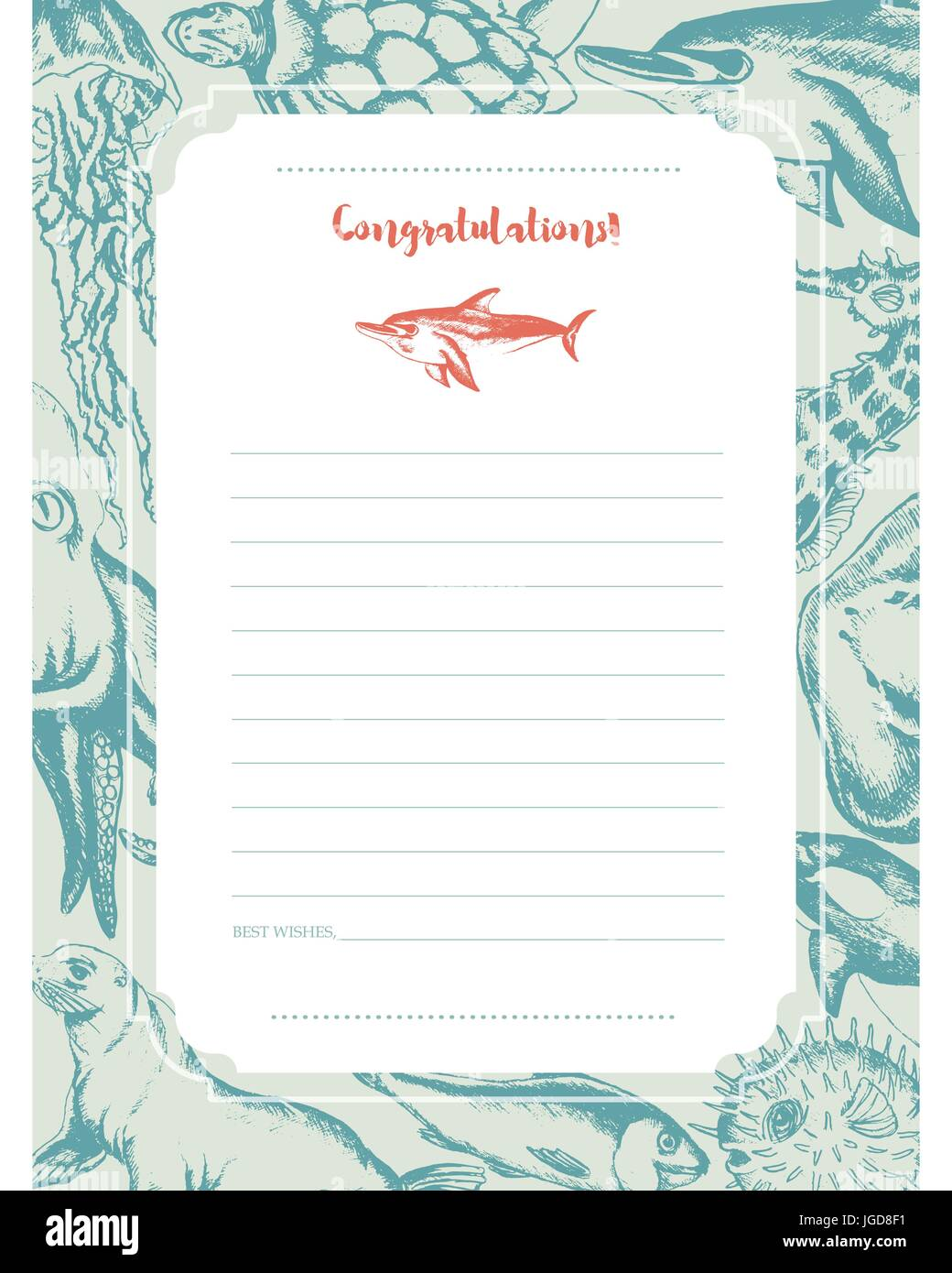 Sea Creatures - green and white vector hand drawn template card ...