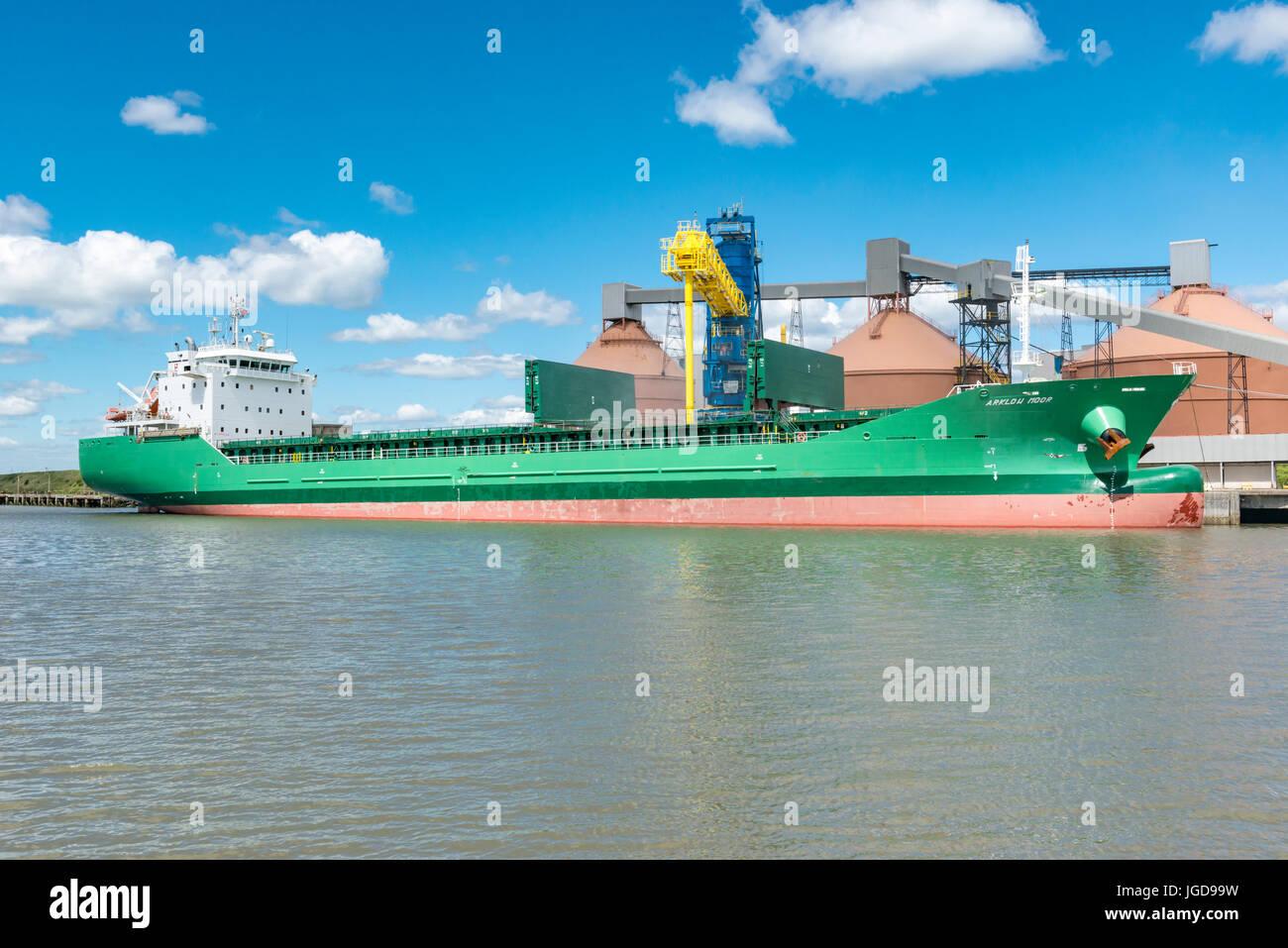 General Cargo Ship, Blyth, UK - Stock Image