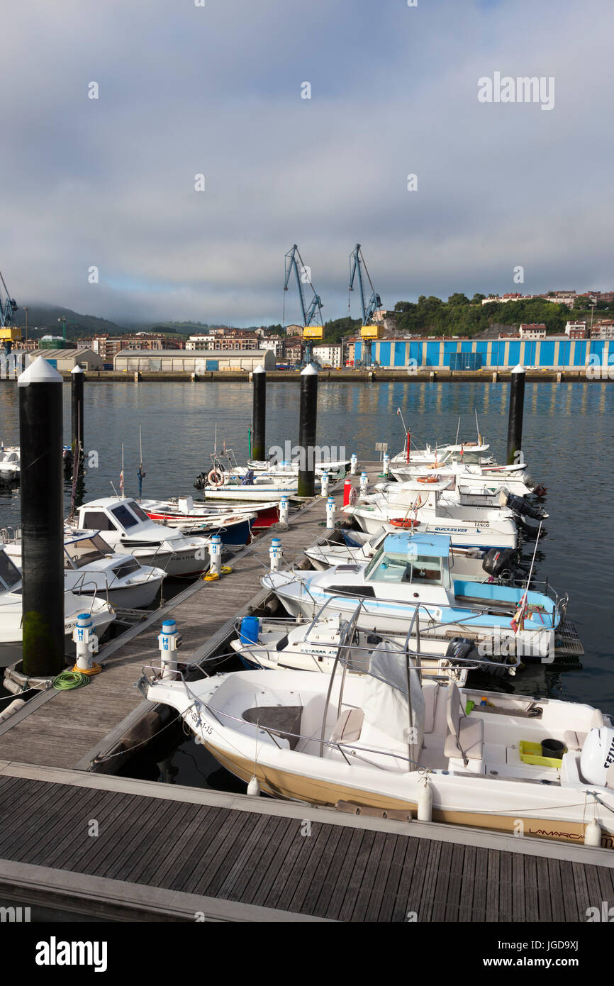 A part of the small marina of Pasajes (Guipuzkoa - Spain). It is side by side with the commercial port, wharfs, - Stock Image