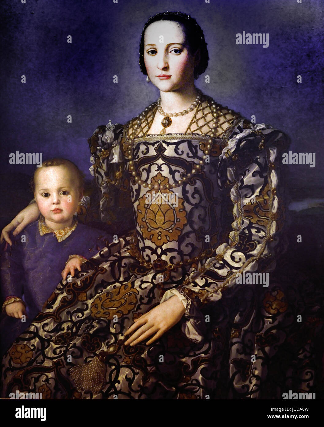 Eleonora di Toledo with her son Giovanni Agnolo Bronzino1544 - 1545 (  Medici family collections in Florence) by - Stock Image