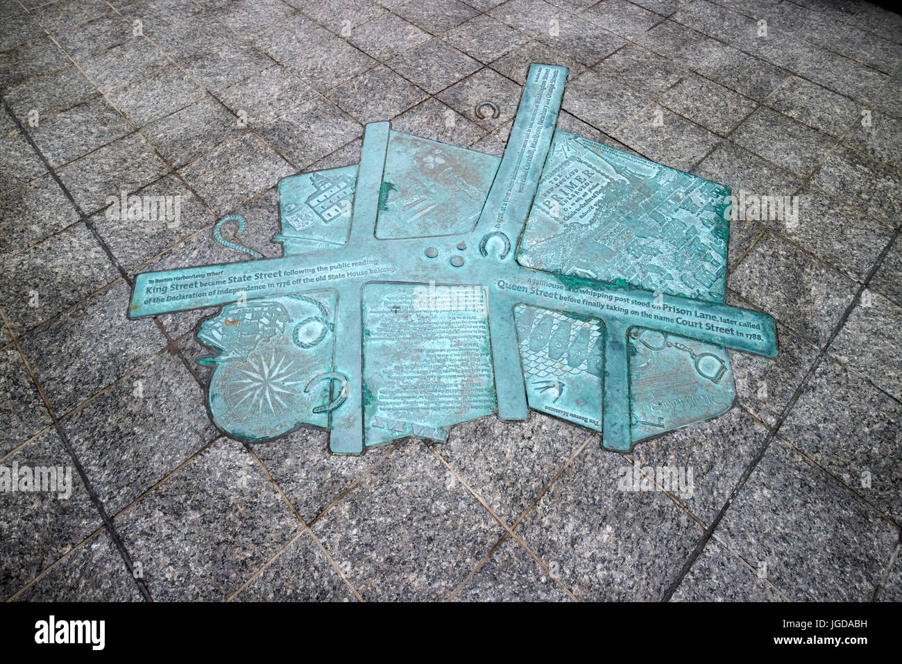 metal plaque in sidewalk on state street Boston showing the pre declaration of independence colonnial street names - Stock Image