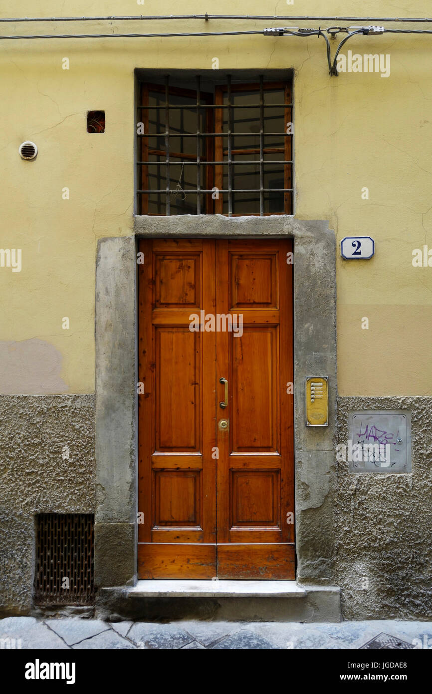 Front Entry Door To An Apartment Building, Florence, Italy   Stock Image