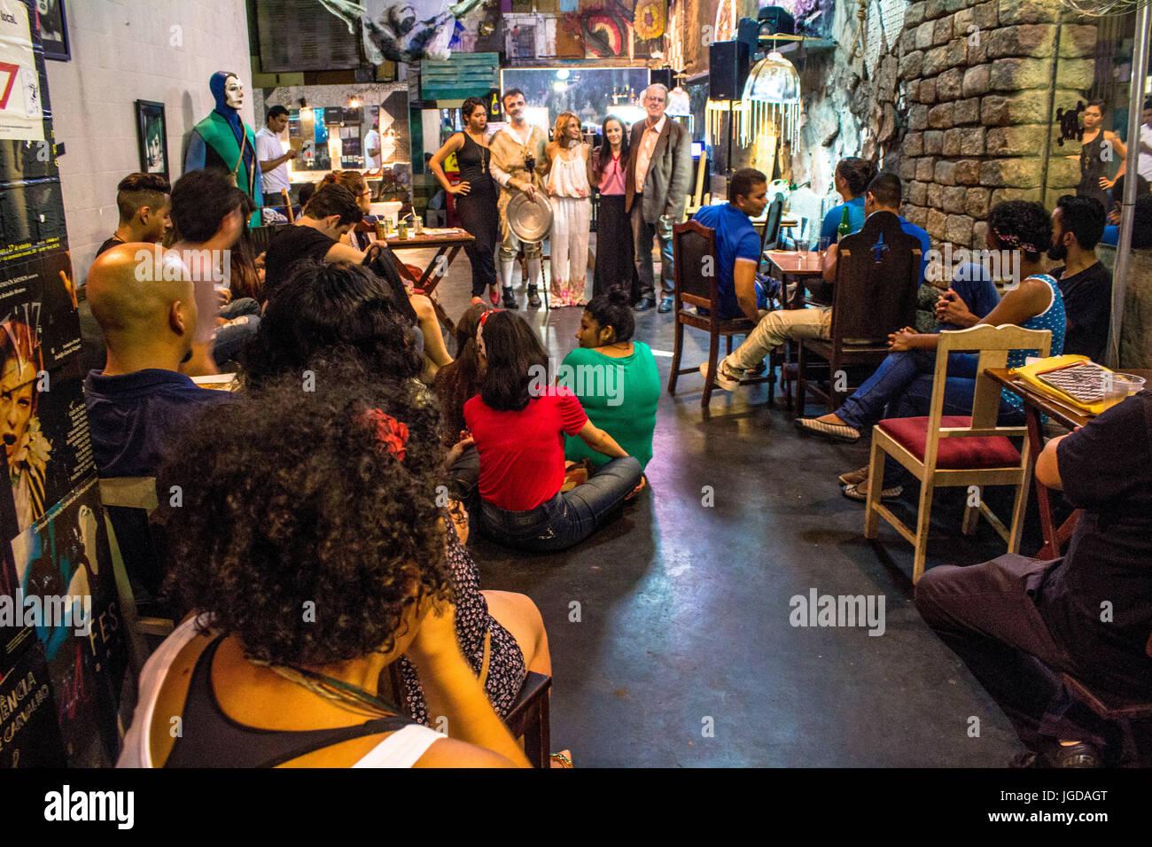 theatrical presentation, bar, Satyrianas Festival 2015 20:11, Capital, Roosevelt Square, Center, São Paulo, - Stock Image