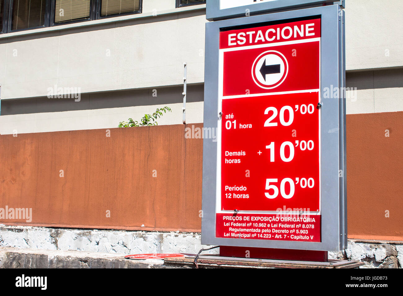 Board, values, parking, 01/02/2016, Capital, Avenida Paulista, São Paulo, Brazil. - Stock Image