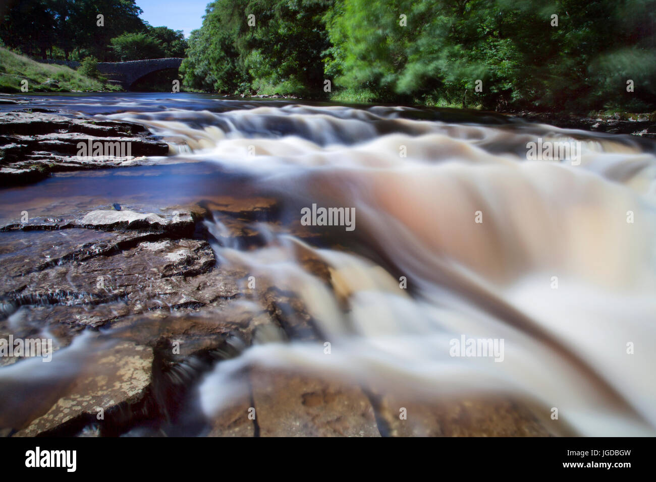 Stainforth Force Waterfalls and Bridge, near Settle, North Yorkshire Dales - Stock Image