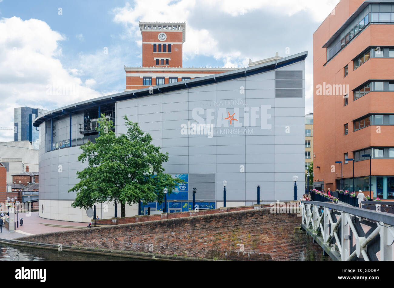 The Sea Life Centre by the canal running through Birmingham at Brindley Place - Stock Image