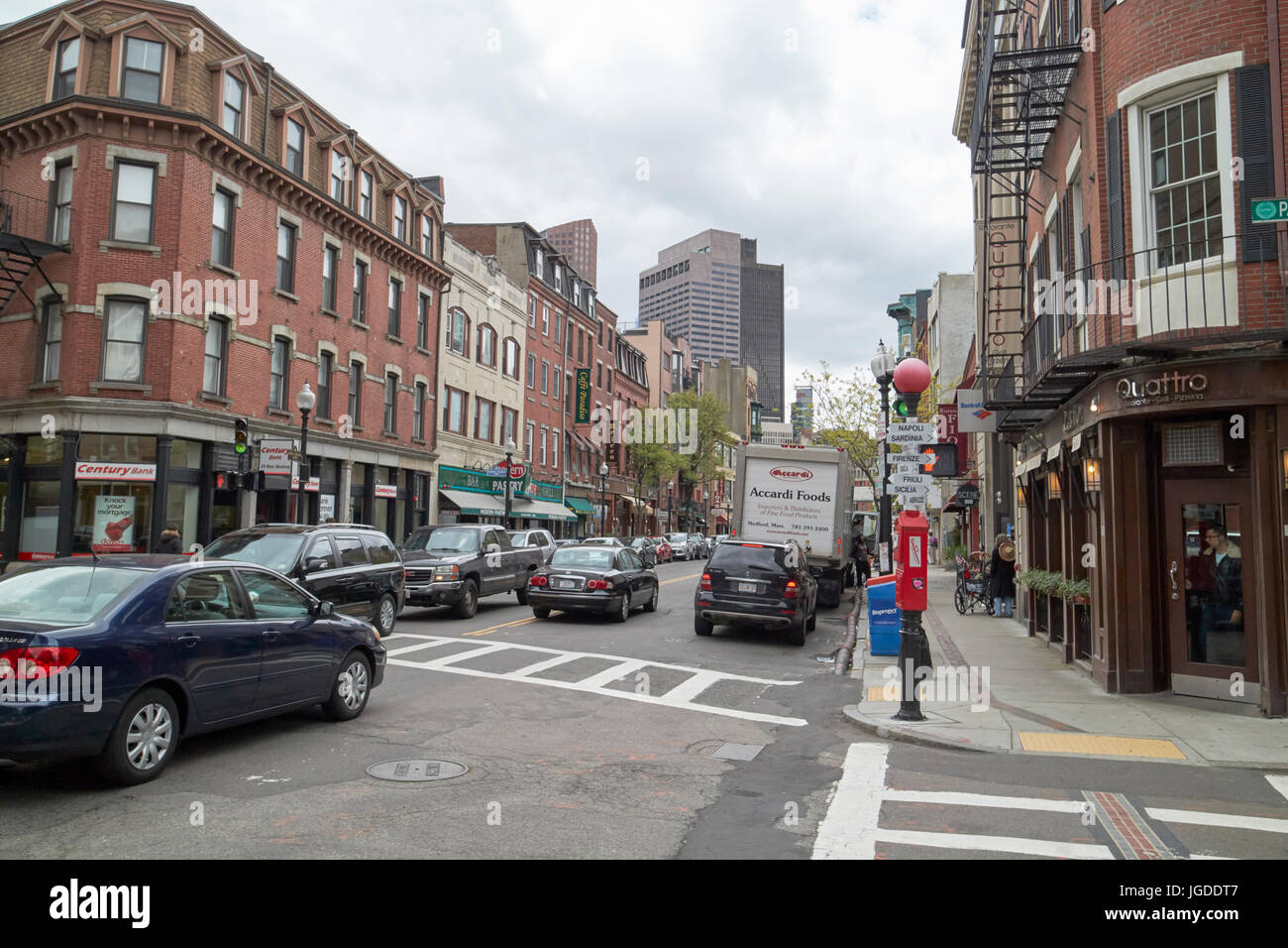Hanover street italian restaurants north end Boston USA - Stock Image
