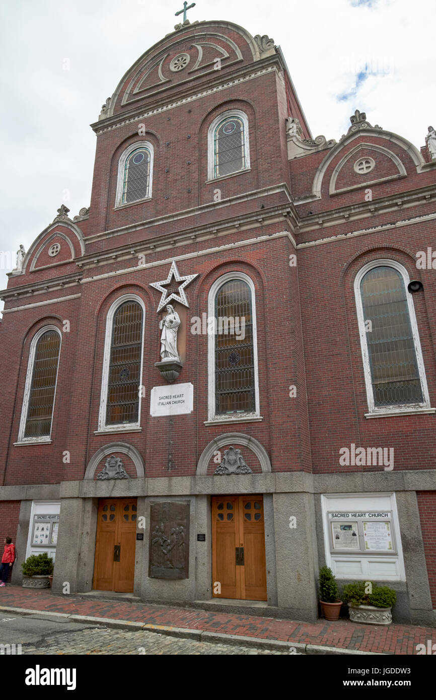 sacred heart italian church north square north end Boston USA - Stock Image