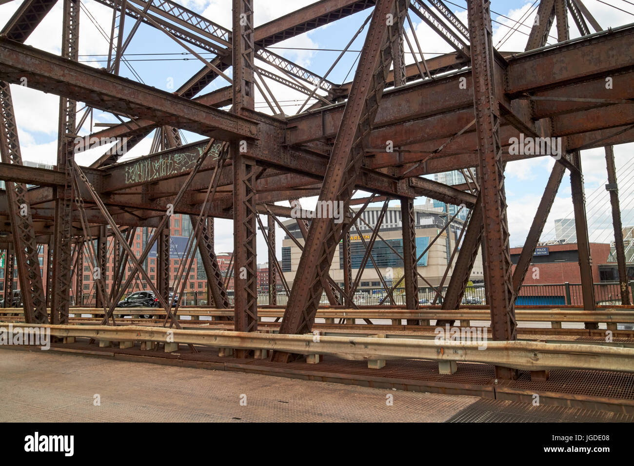rusty metalwork of the charlestown north washington street bridge Boston USA - Stock Image