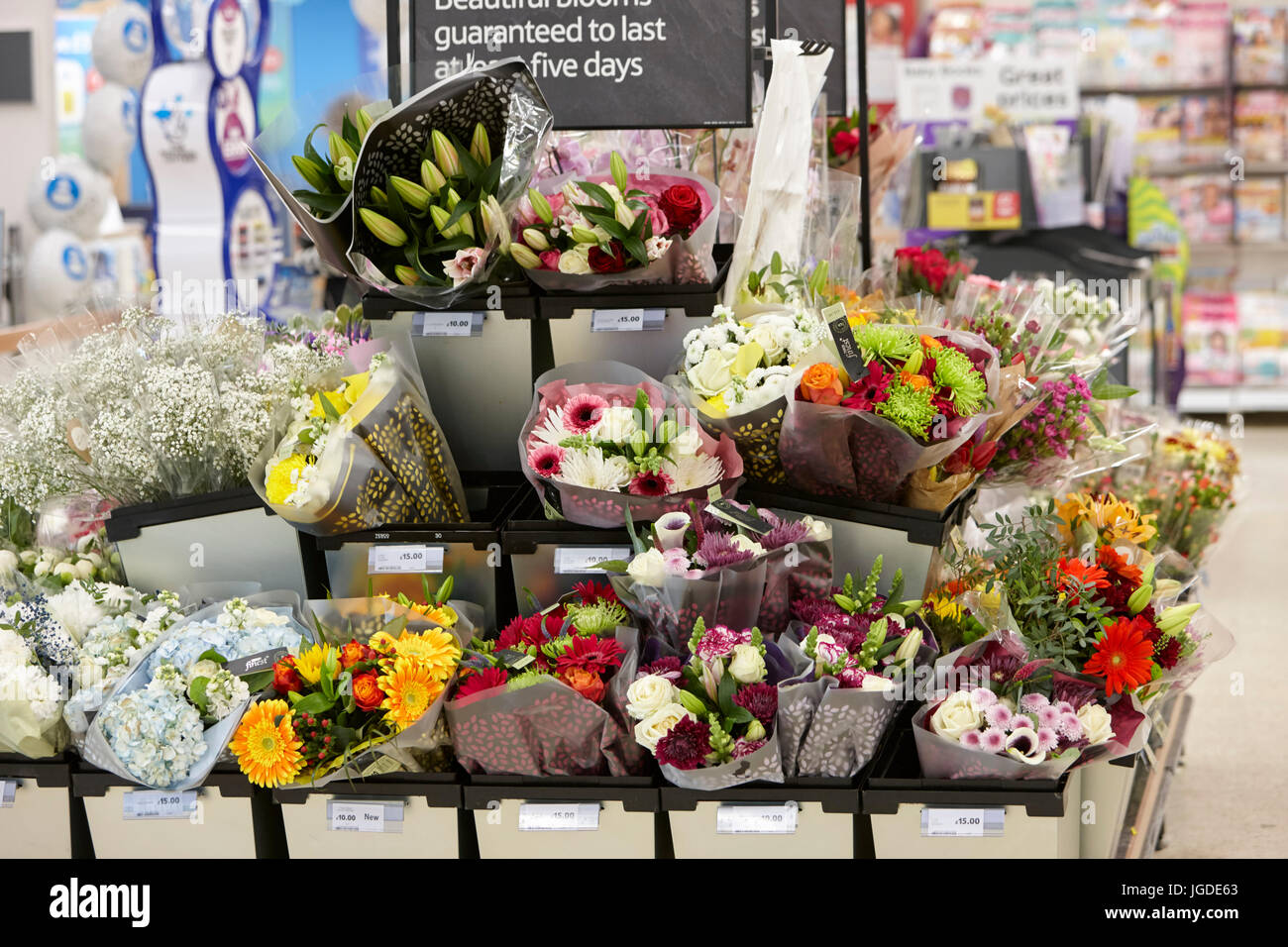 fresh flowers for sale in a tesco supermarket Stock Photo: 147813963 ...