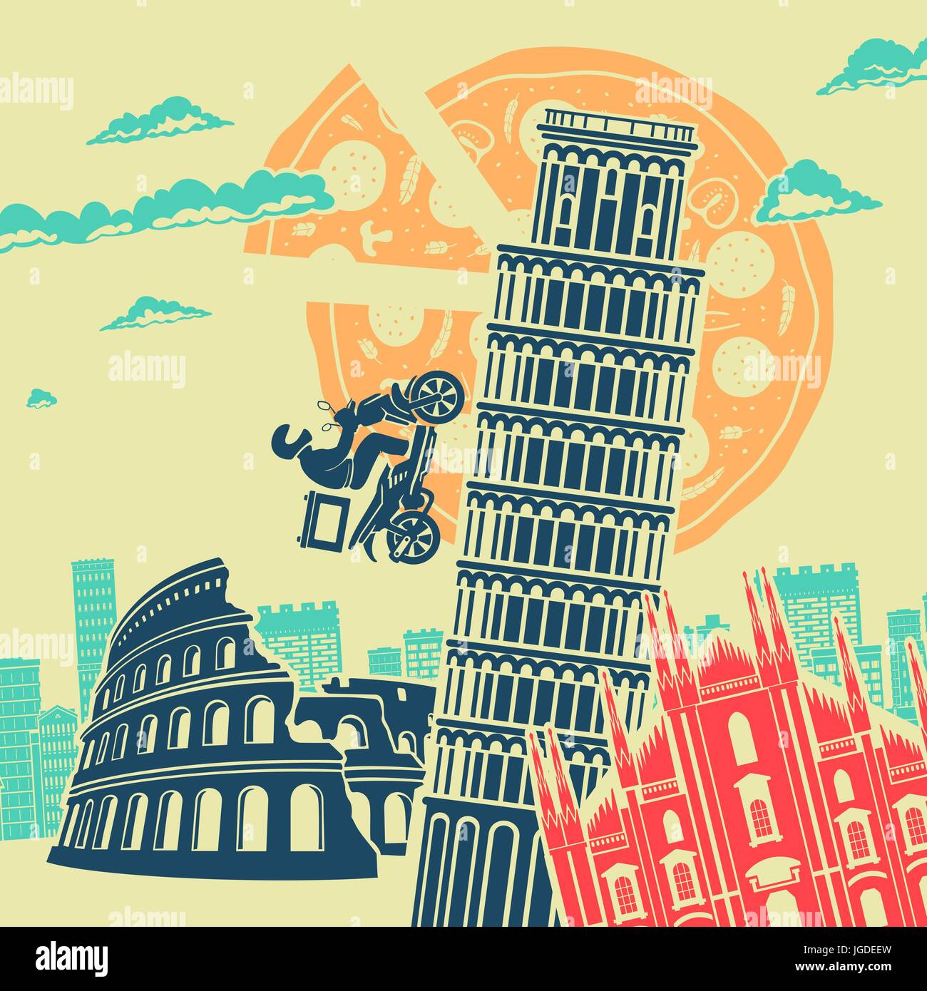 Italy Attractions Vector Background - Stock Vector