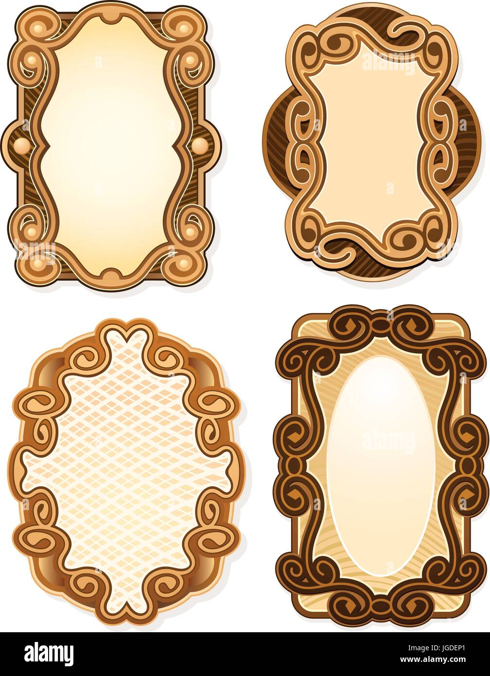 Miniature ornate borders for labels - Stock Vector
