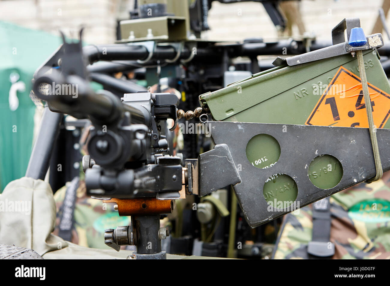 general purpose machine gun weapon mounted on a british army vehicle uk - Stock Image
