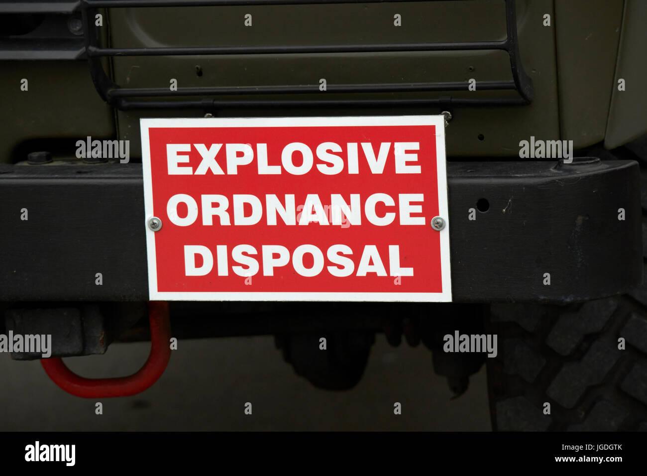 explosive ordnance disposal landrover british army uk - Stock Image