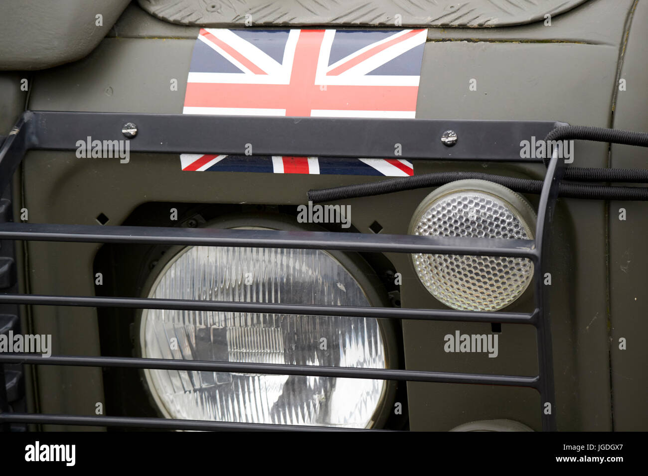 union flag on a british army landrover uk - Stock Image