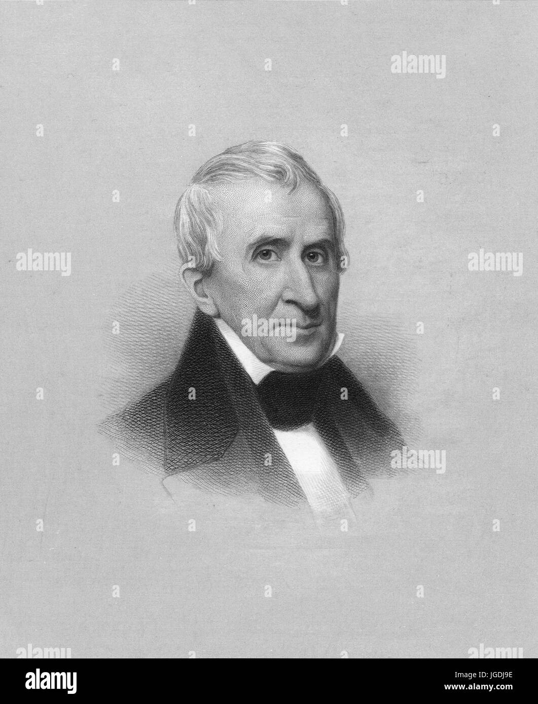 Engraved portrait of William Henry Harrison, 9th President of the United States who died from pneumonia 31 days - Stock Image