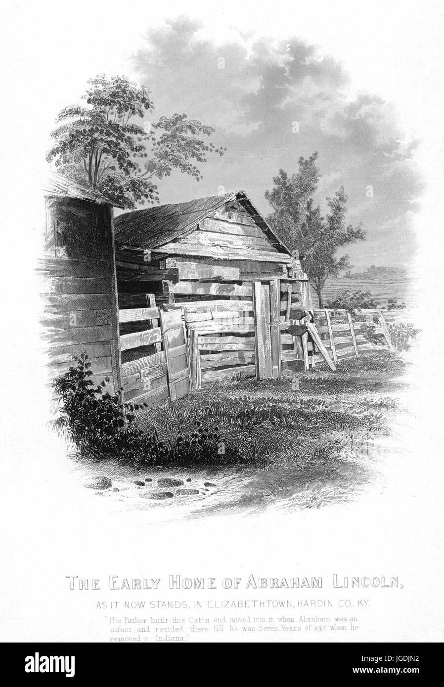Engraving of the exterior of the childhood home of Abraham Lincoln, the 16th President of the United States, in - Stock Image