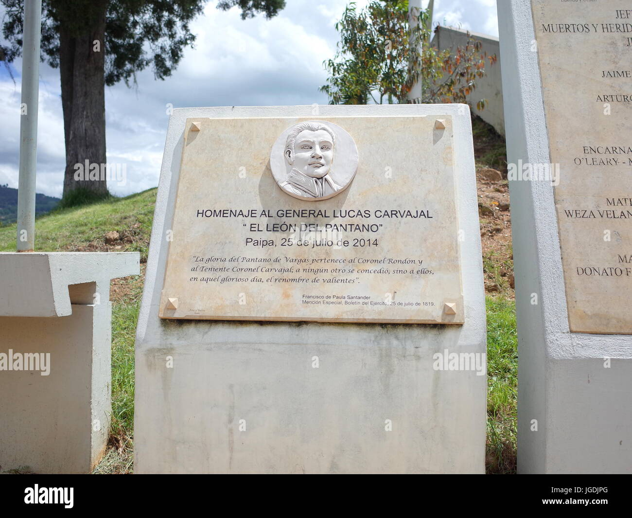 18TH JUNE 2017, PAIPA, COLOMBIA - A plaque commemorates General Lucas Carvajal who led the independence army against Stock Photo