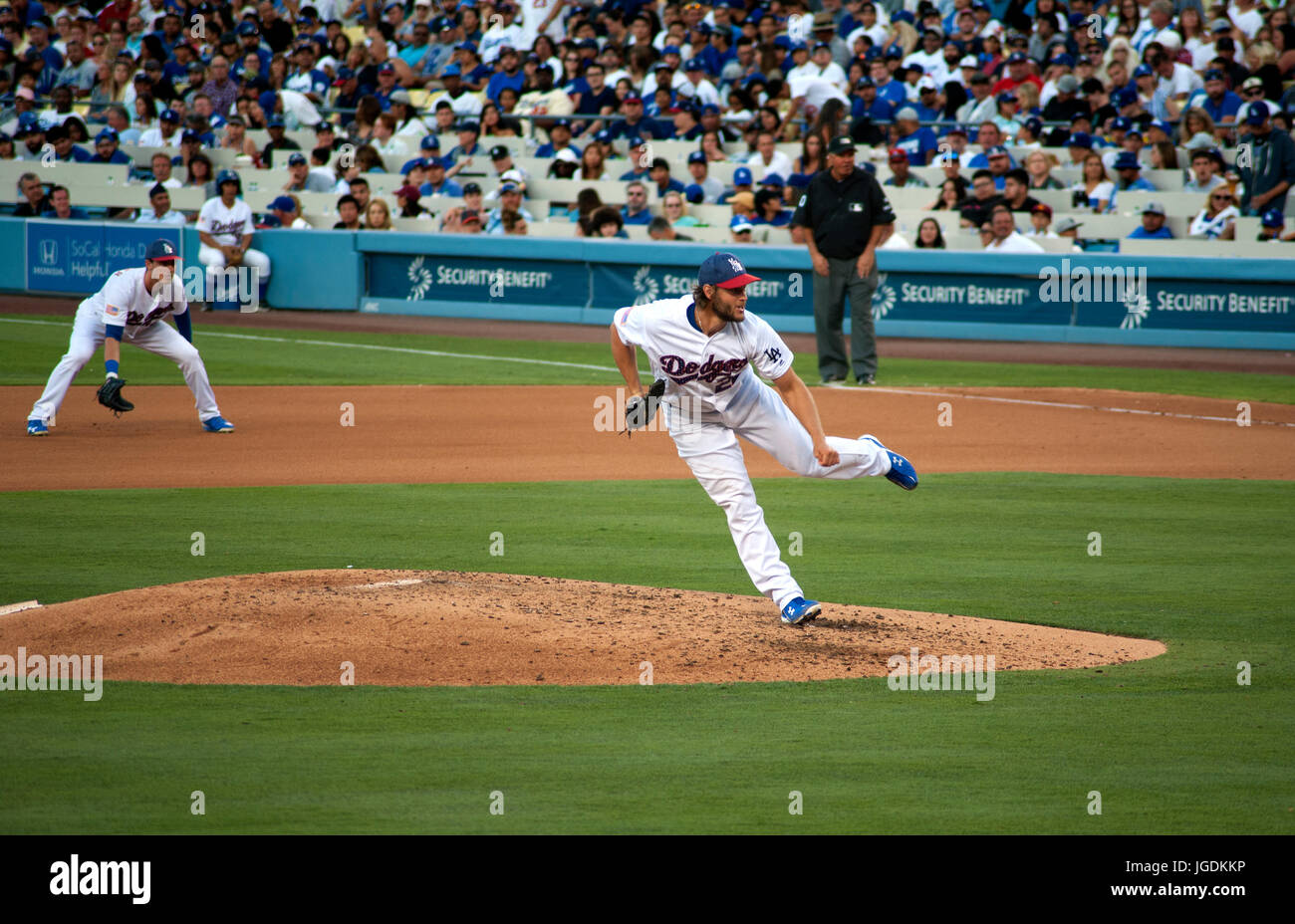 Dodger pitcher Clayton Kershaw at Dodger Stadium - Stock Image