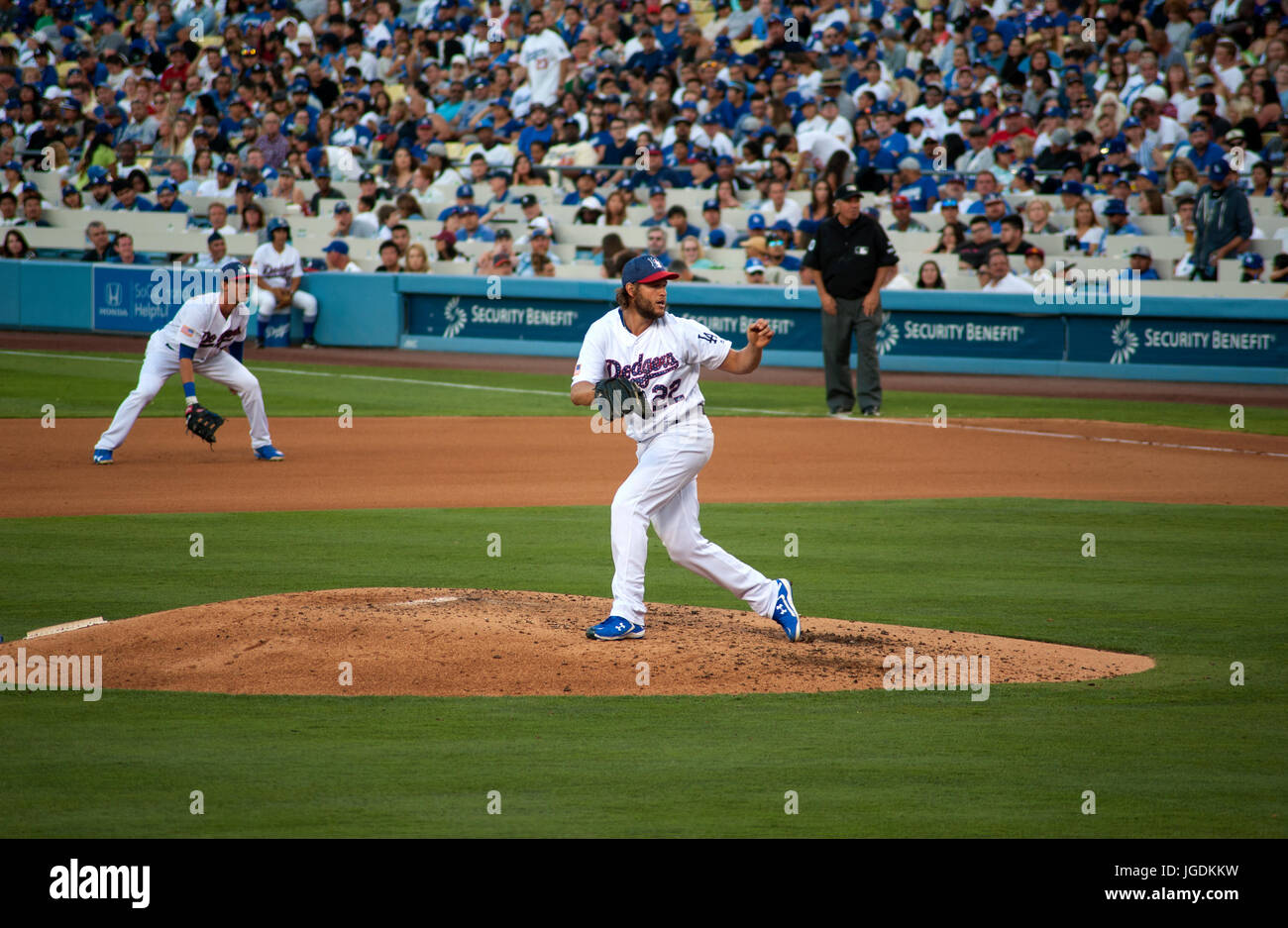 Dodger ace pitcher Clayton Kershaw raises his fist after striking out another batter at Dodger Stadium. - Stock Image