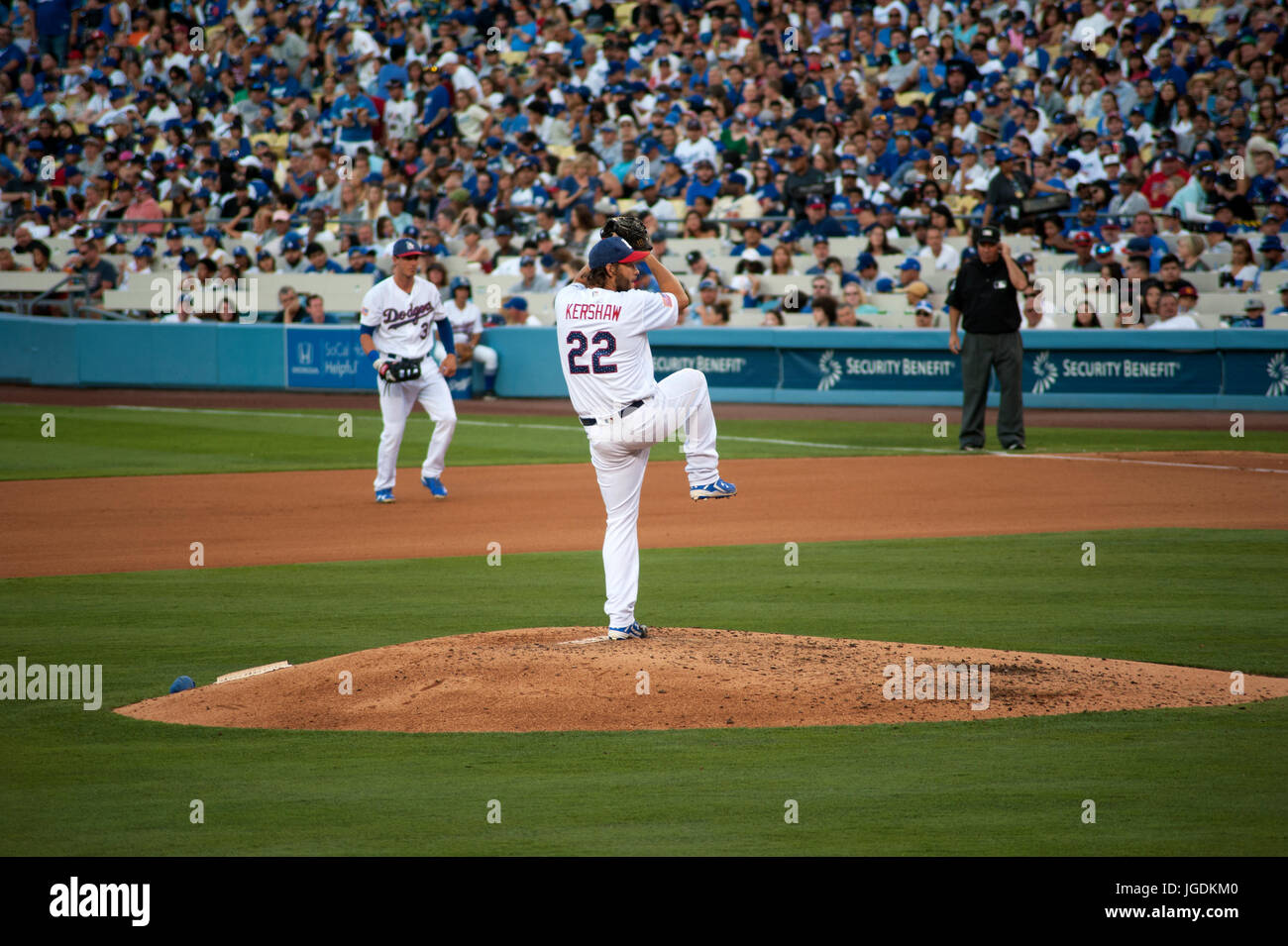 Dodger ace pitcher Clayton Kershaw pithcing at Dodger Stadium in Los Angeles, CA - Stock Image