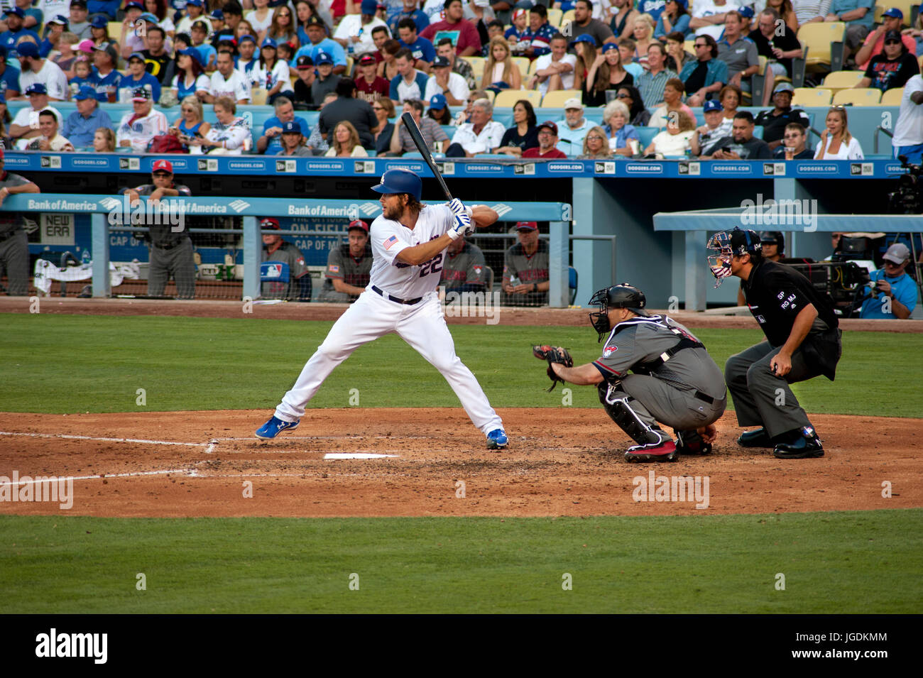Dodger star pitcher Clayton Kershaw is also a good hitter at bat in a game at Dodger Stadium in Los Angeles, CA - Stock Image