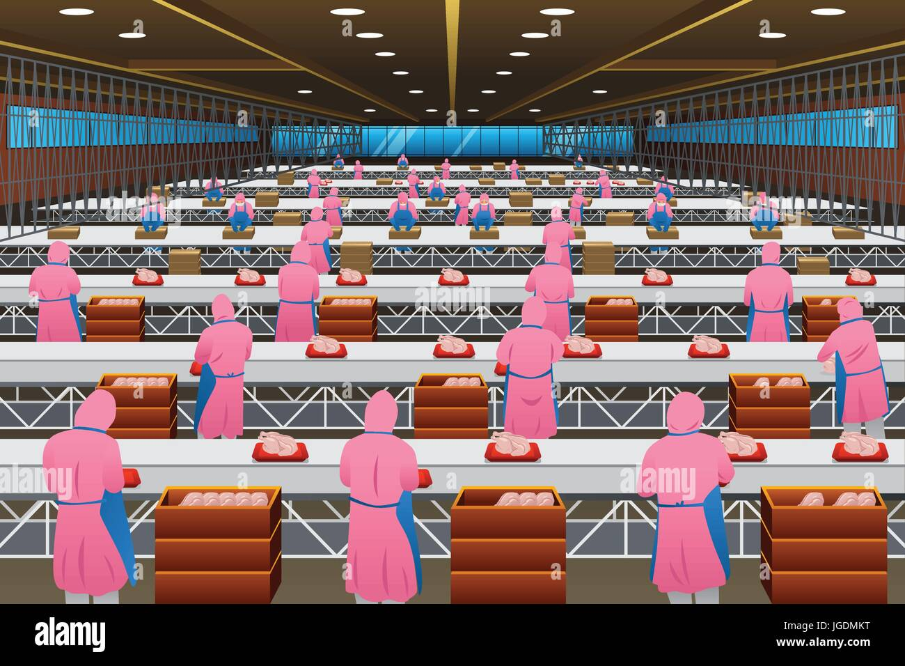 A vector illustration of Factory Workers Working in a Poultry Processing Plant - Stock Image