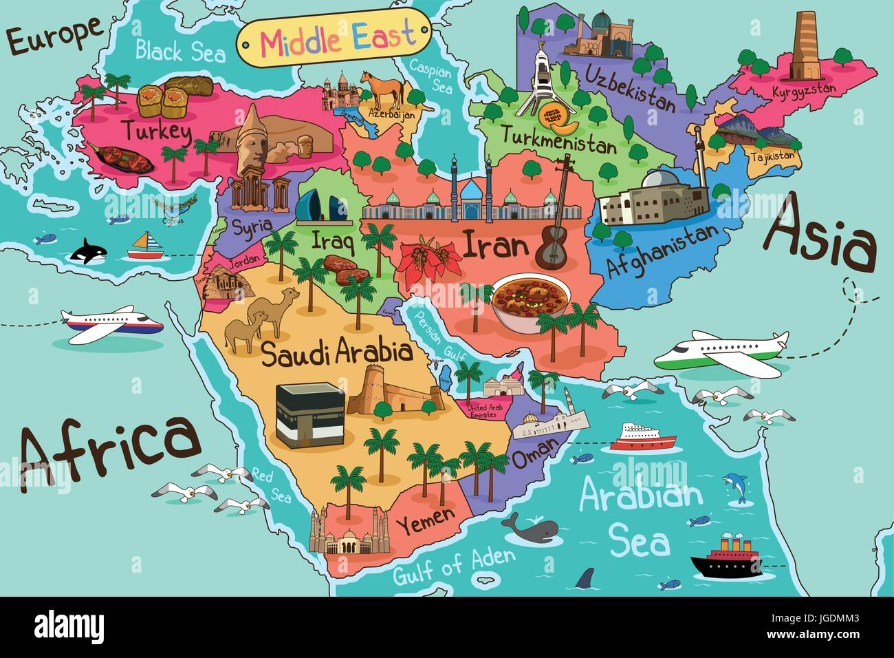 a vector illustration of middle east countries map in cartoon style