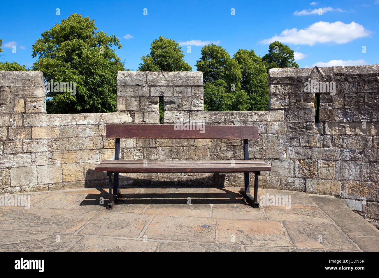 Brilliant A Wooden Bench On The Medieval Stone Walls Of The Ancient Machost Co Dining Chair Design Ideas Machostcouk