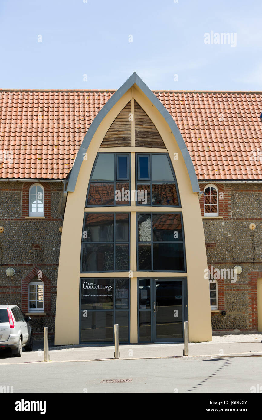 Boat shaped facade of Oddfellows Hall, on the East coast at Sheringham North Norfolk UK. unsharpened - Stock Image