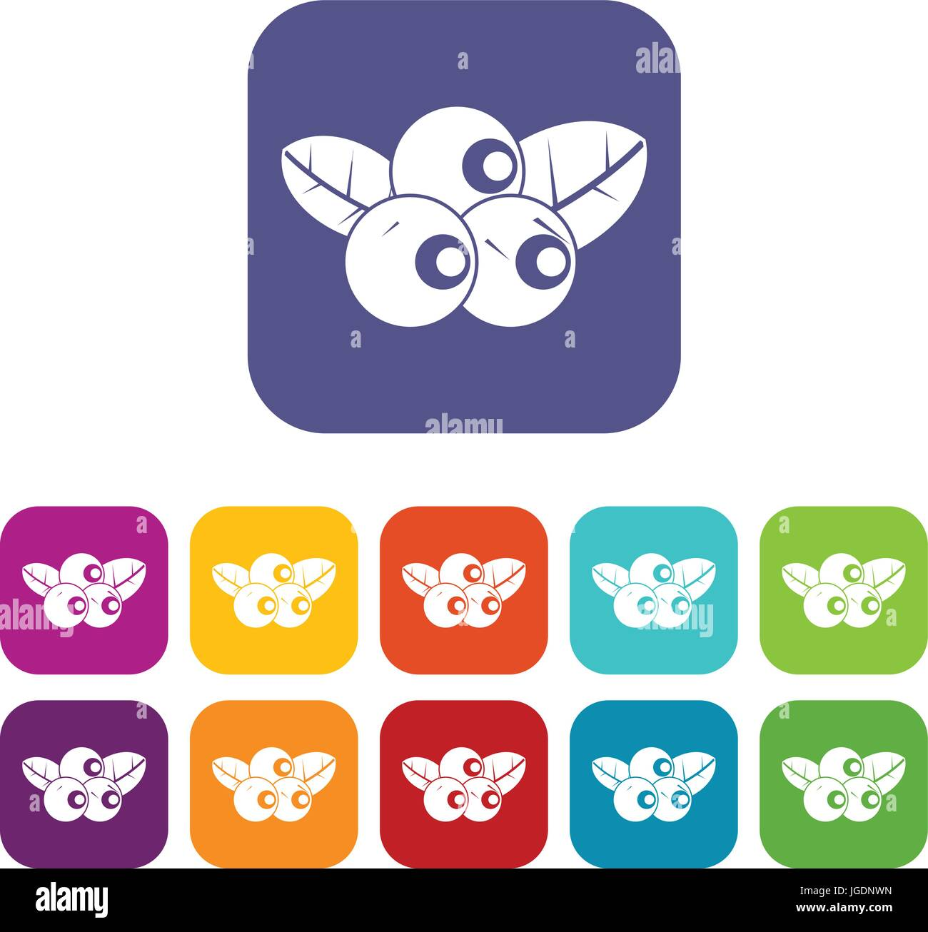 Blueberries icons set flat - Stock Vector