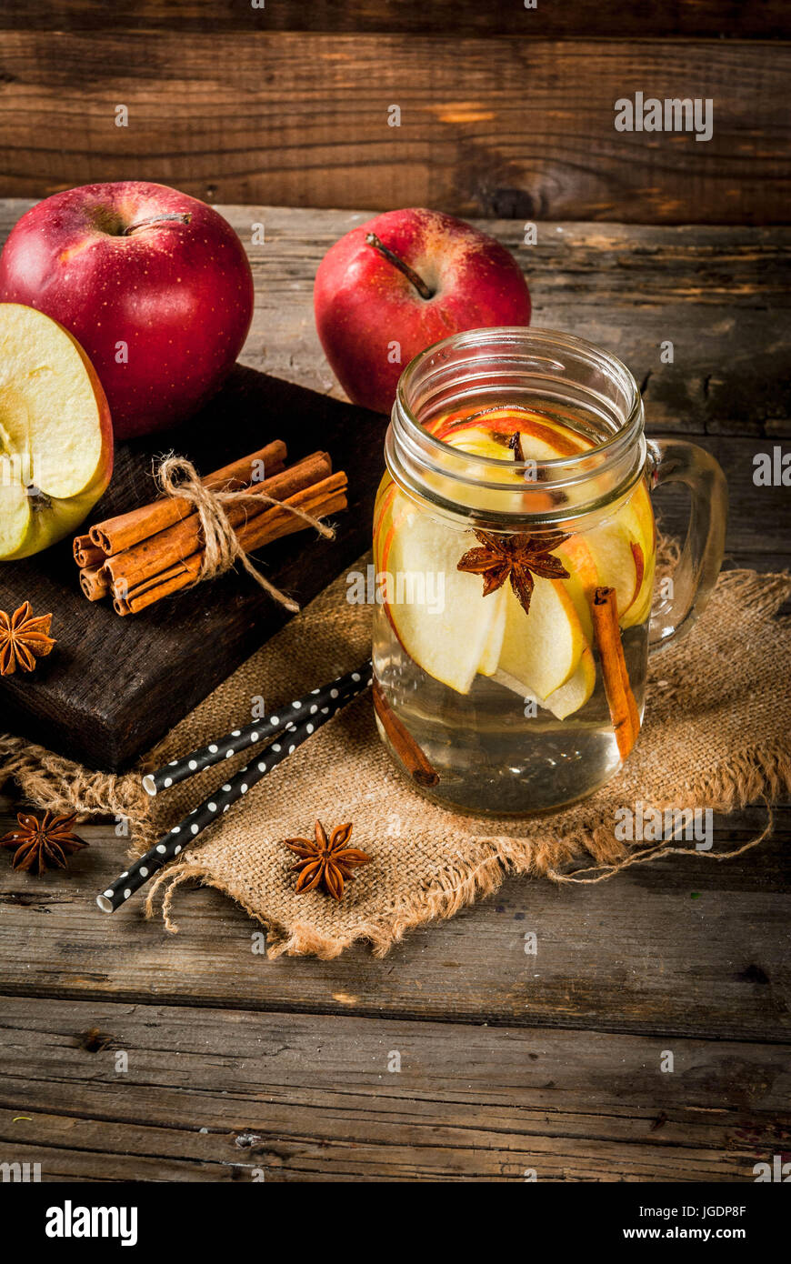 Autumn Detox Water With Apple Cinnamon And Pear In Mason Jar On A Rustic Old Wood Background Ingredients Copy Space