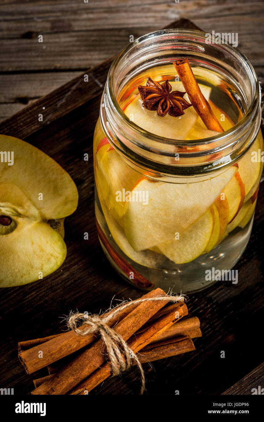 Autumn Detox Water With Apple Cinnamon And Pear In Mason Jar On A Rustic Old Wood Background Ingredients Close View