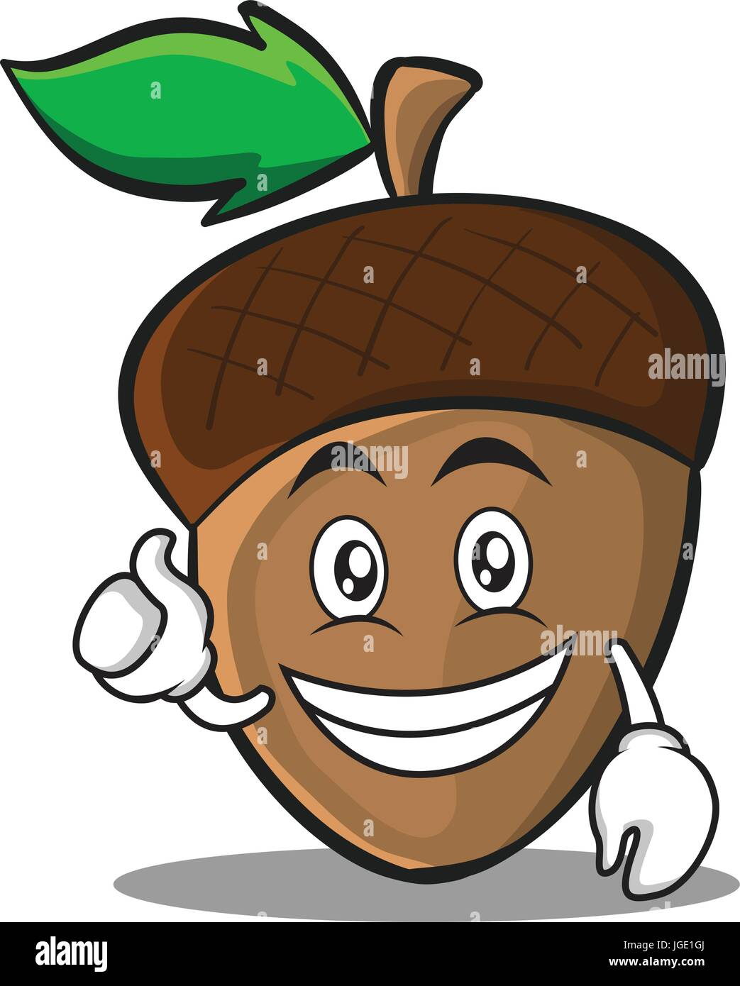 Optimistic acorn cartoon character style - Stock Image