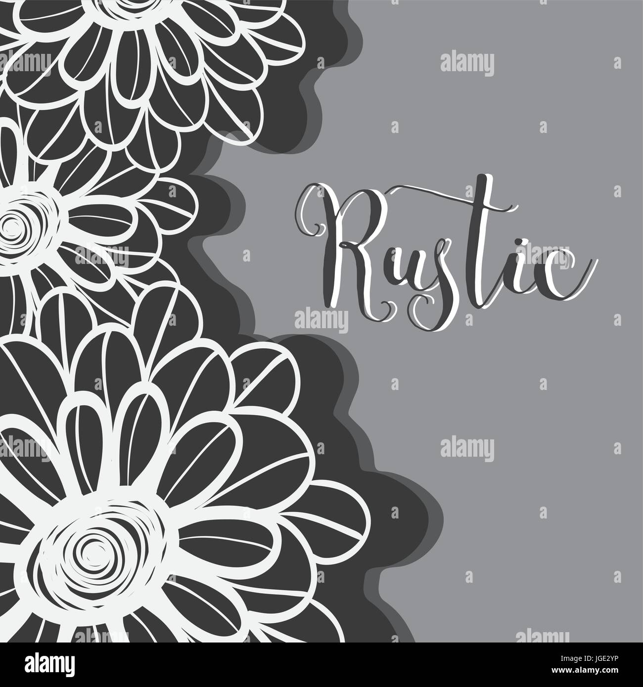 rustic flowers with petals design background - Stock Image