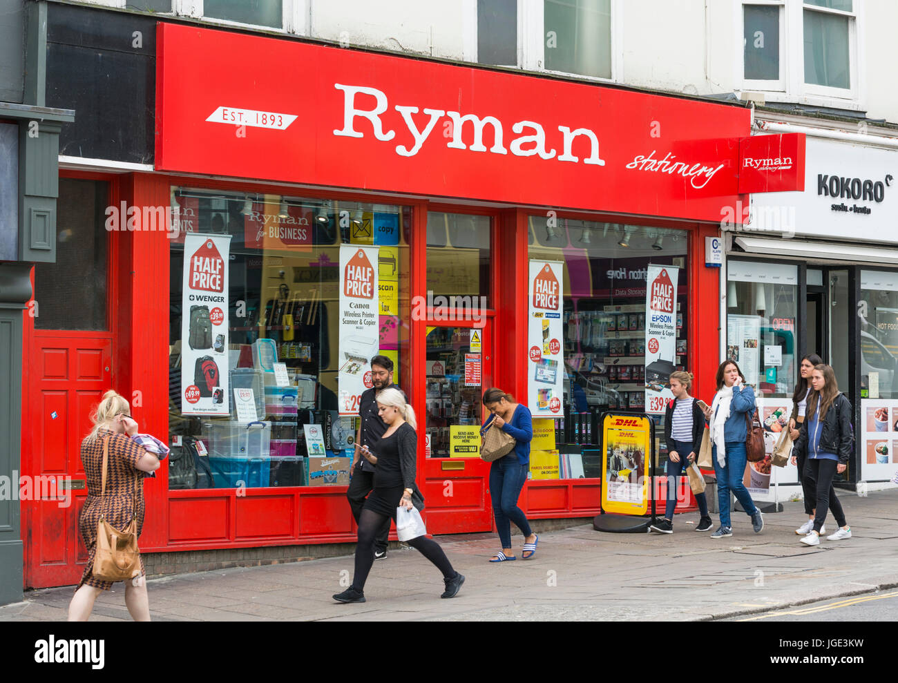 Ryman stationary shop front in the UK. Retail store. - Stock Image