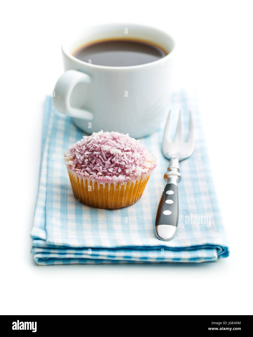 Cupcake and coffee cup isolated on white background. - Stock Image