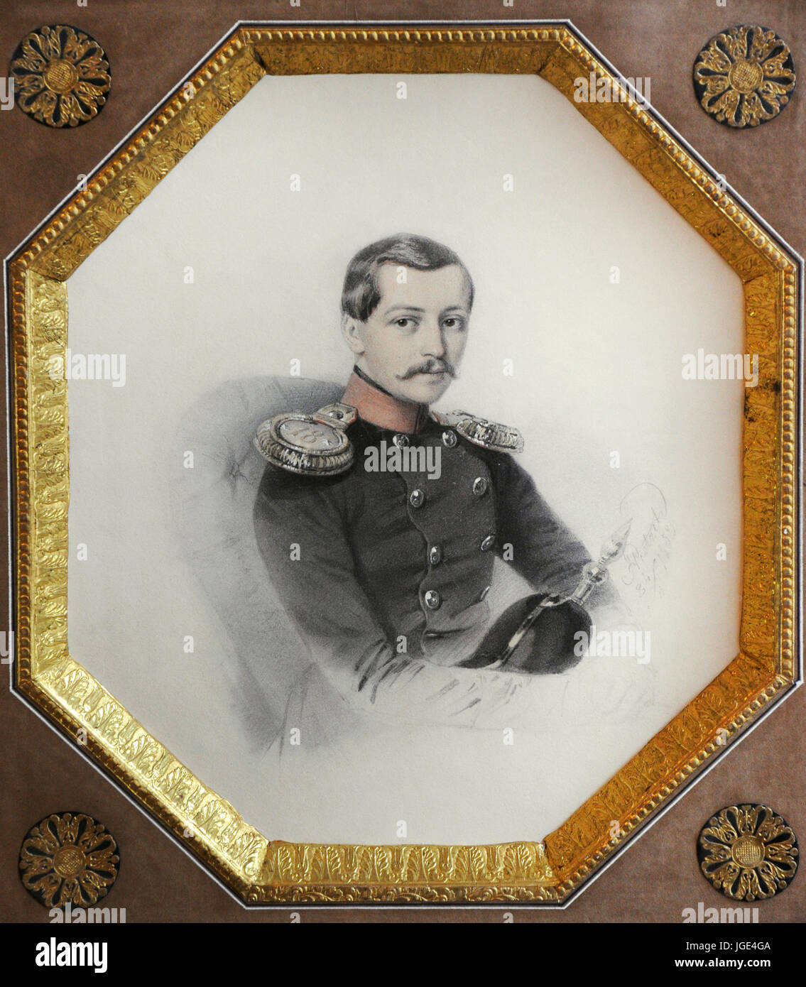 Portrait of an officer, 1852. By H. Pietzch. Vilnius Picture Gallery. Lithuania. - Stock Image