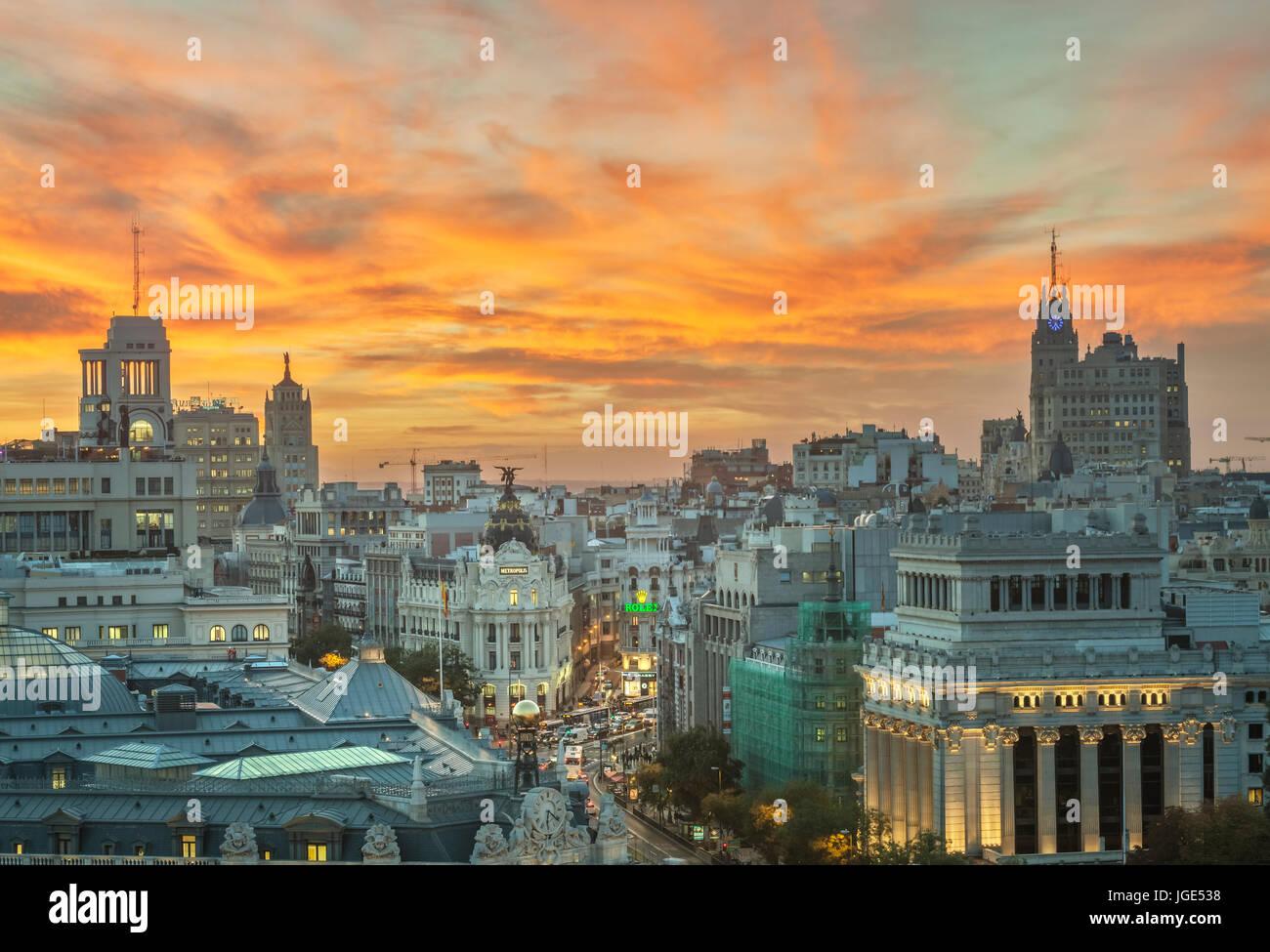 Madrid city center skyline. Madrid, Spain. - Stock Image