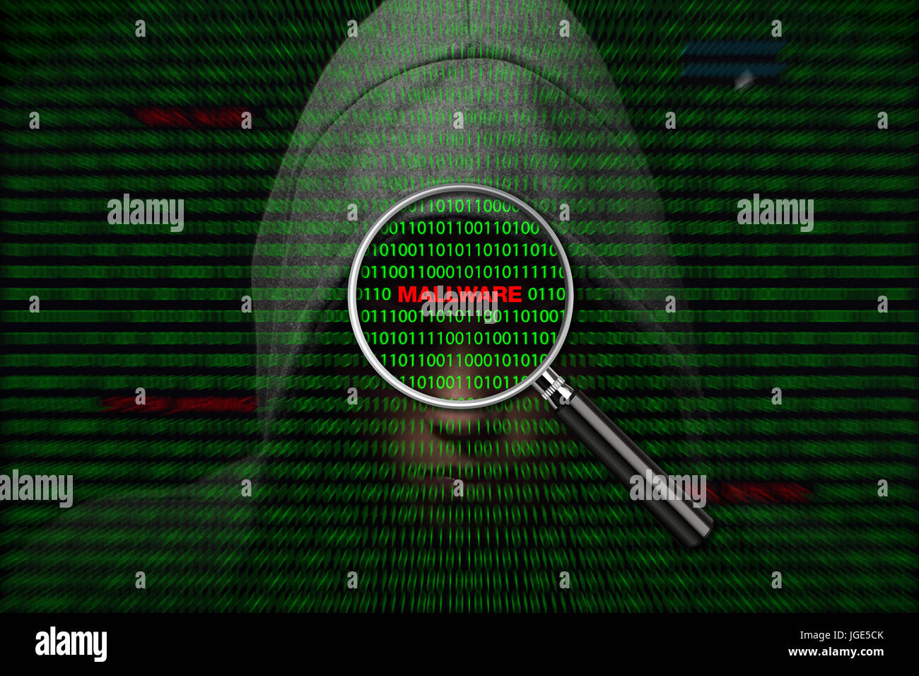 Hacker over a screen with binary code and mallware warning messages - Stock Image