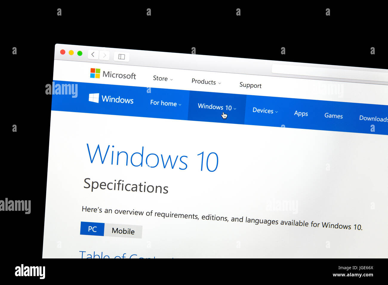 Windows 10 website on a computer screen. Windows 10 is a personal computer operating system developed and released - Stock Image