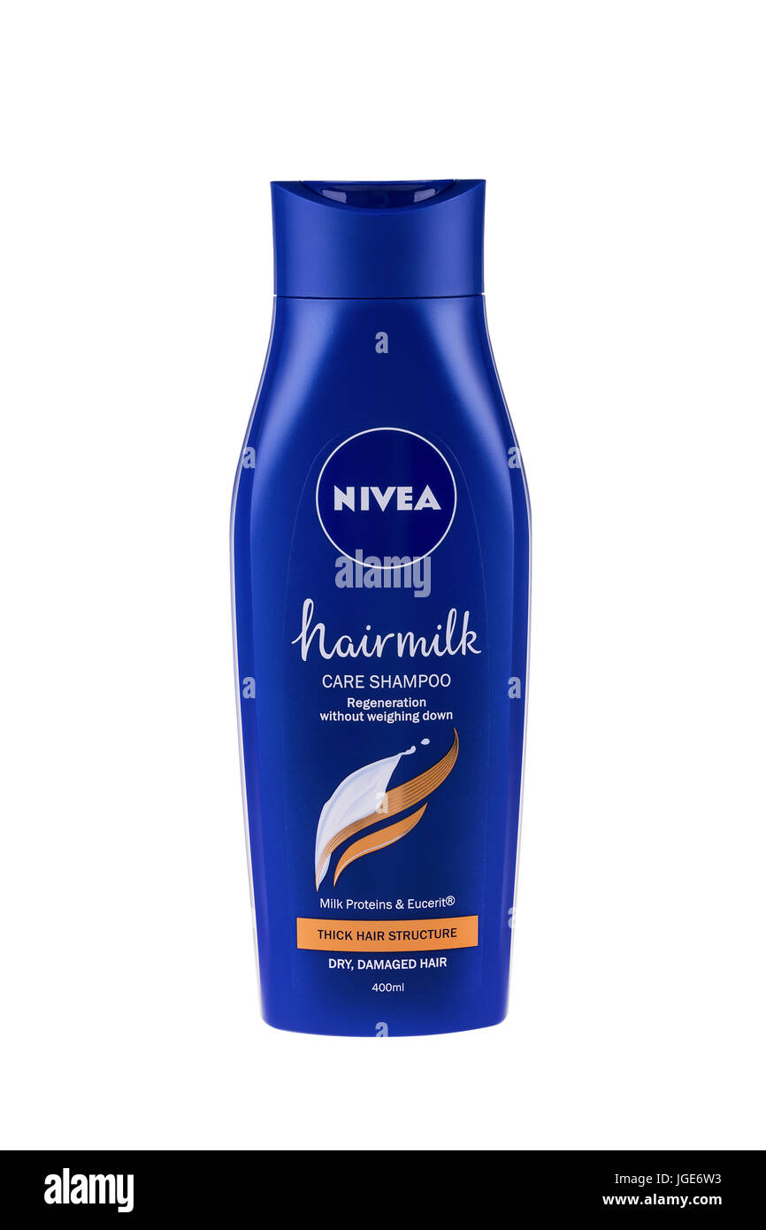 BURGAS, BULGARIA - MAY 22, 2017: Nivea Hairmilk Shampoo Thick Hair Structure 400 ml isolated on white, with clipping Stock Photo