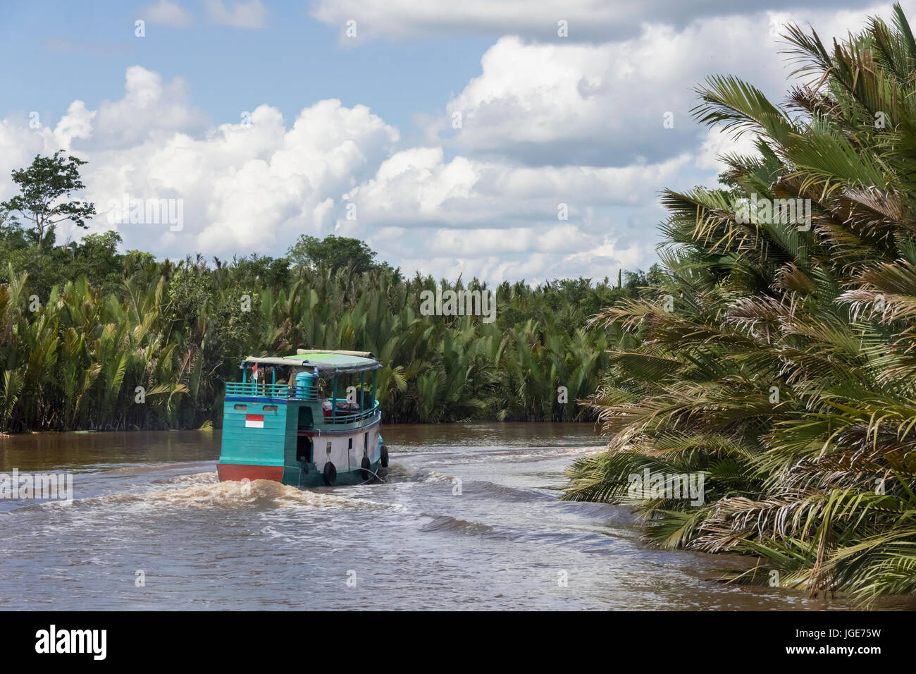 Klotok river boat on the Sekonyer River, Tanjung Puting National Park, Kalimantan Province, Borneo Island - Stock Image