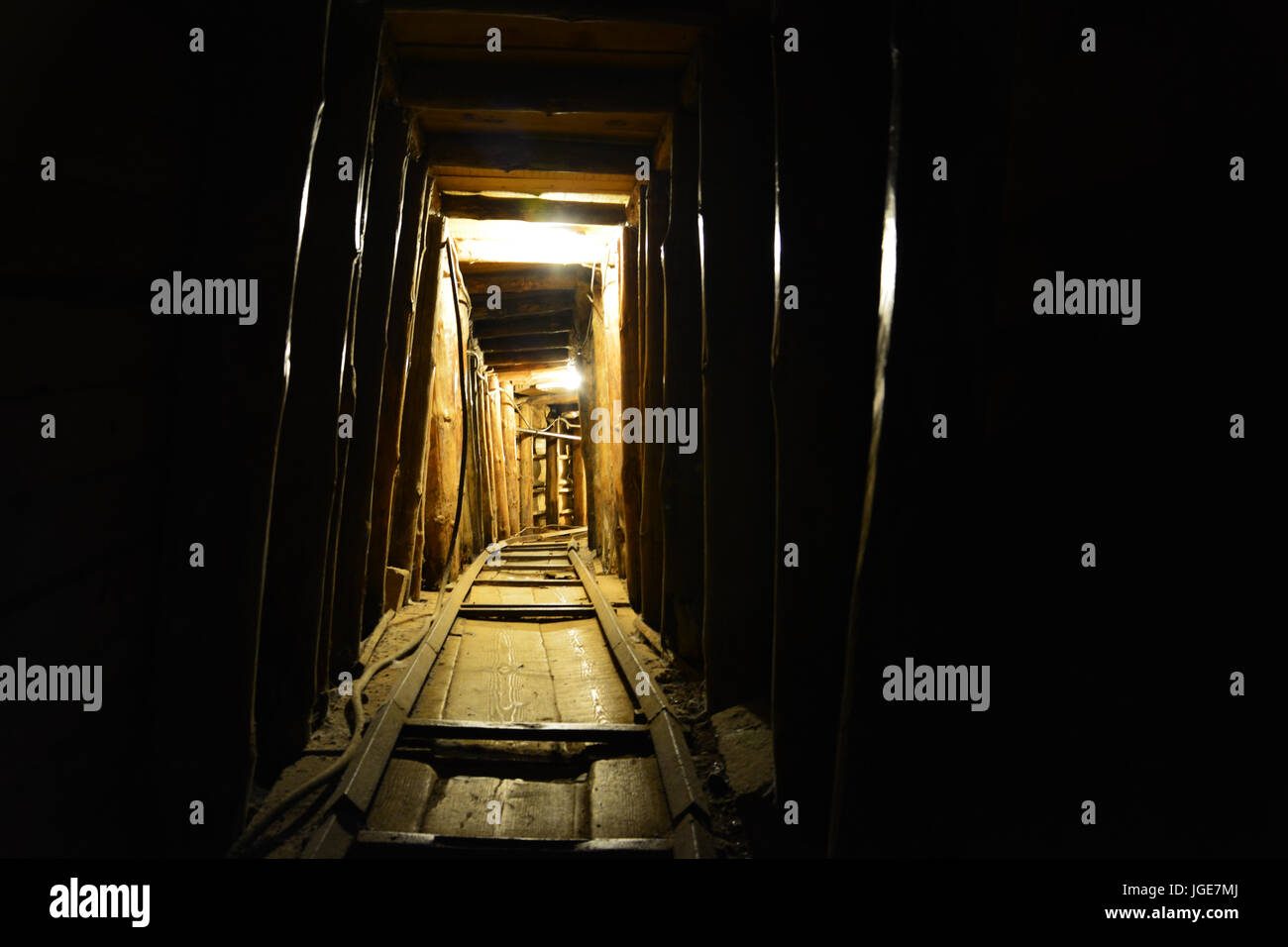 Looking down the Tunnel of Hope which allowed men and supplies into the besieged city of Sarajevo during the Bosnian/Serbian - Stock Image