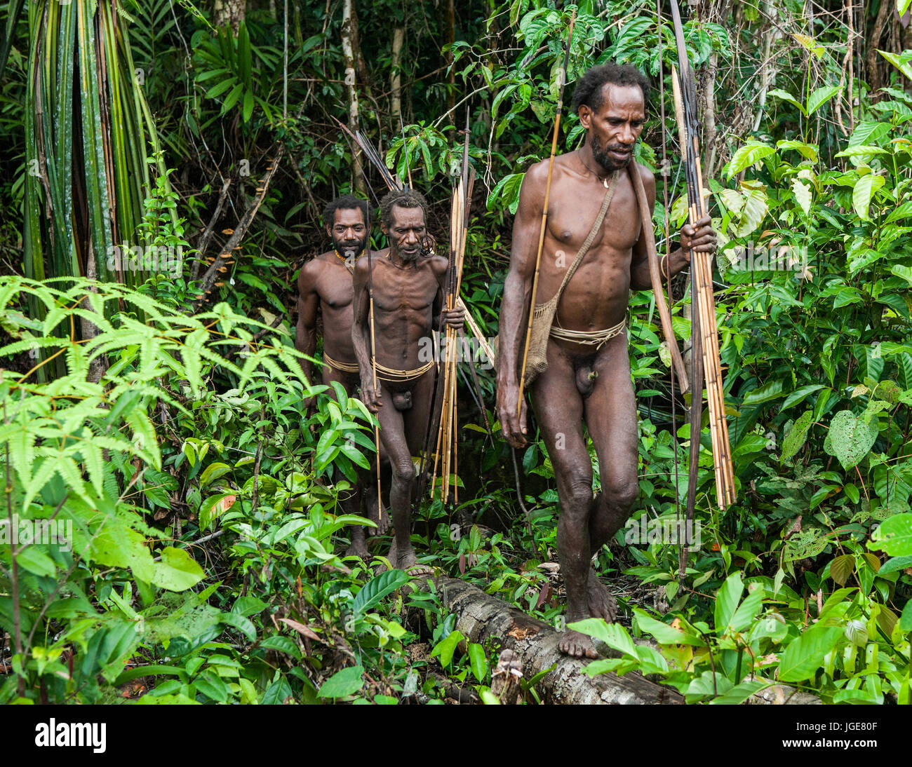 INDONESIA, ONNI VILLAGE, NEW GUINEA - JUNE 24: Men Korowai tribe