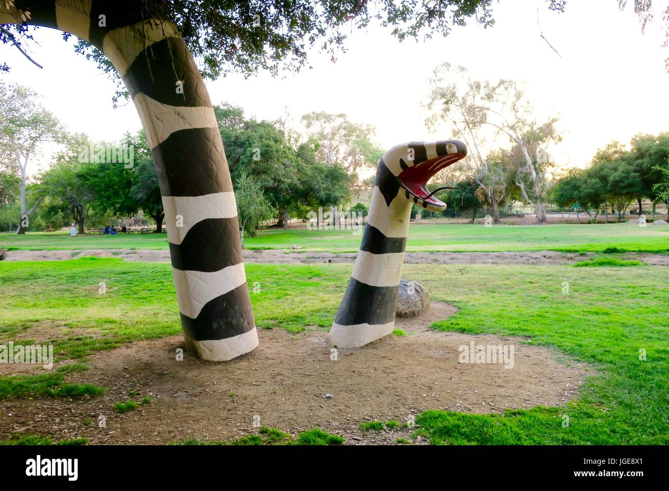 Large black and white striped free-form concrete snake at Kit Carson Park, Escondido, CA - Stock Image
