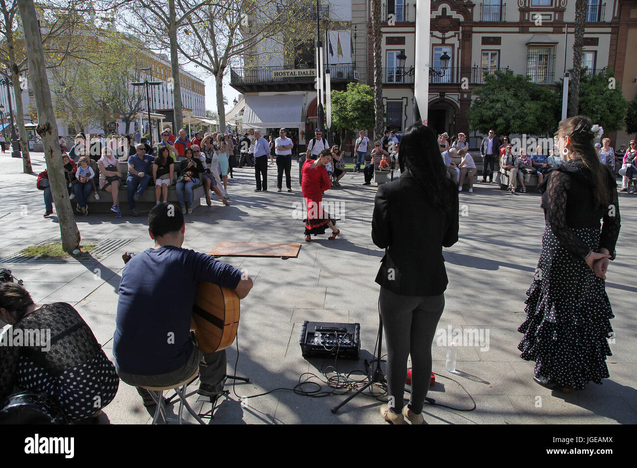 Flamenco dancers performing in the streets of Seville Spain - Stock Image