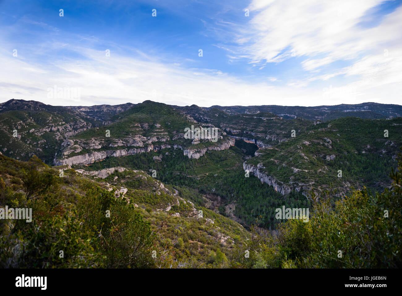 Picturesque landscape at Margalef rocks valley, Catalunia, Spain. - Stock Image